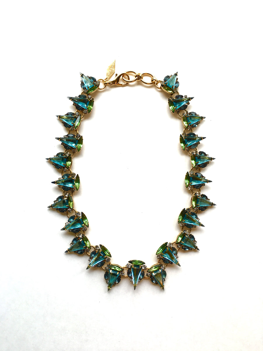 Nicole Romano Clustered Aqua Triangle Necklace