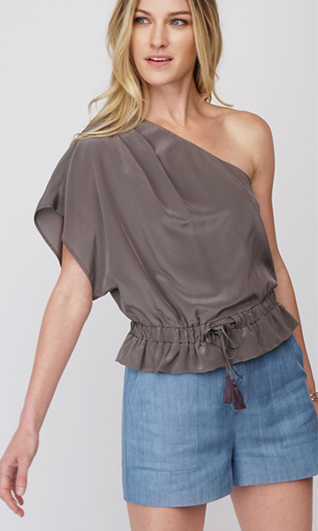 Greylin Giya Silk One Shoulder Top