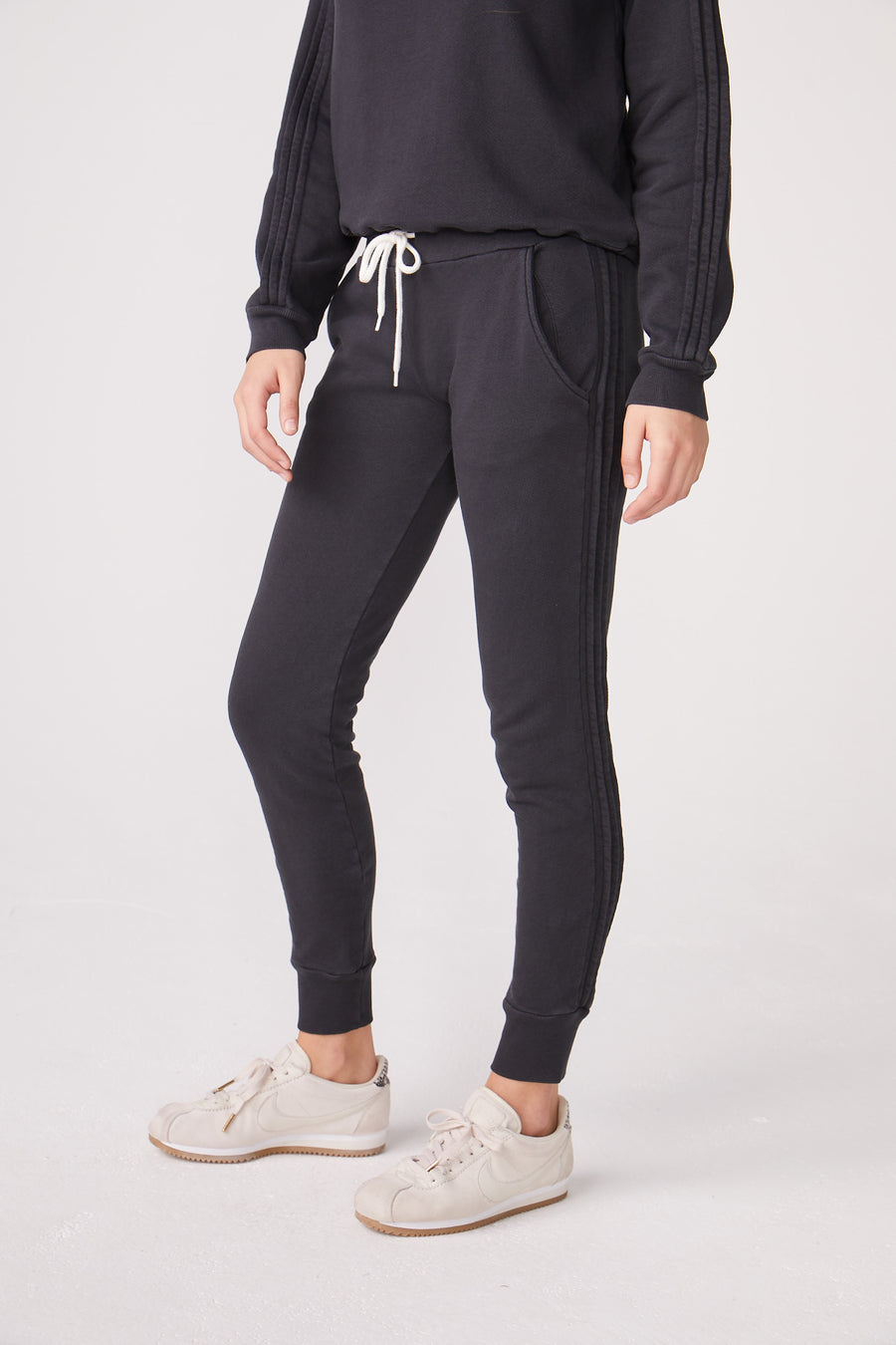 Monrow Pintuck Sporty Sweatpants