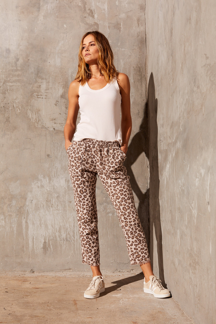 Monrow Leopard Fray Pants