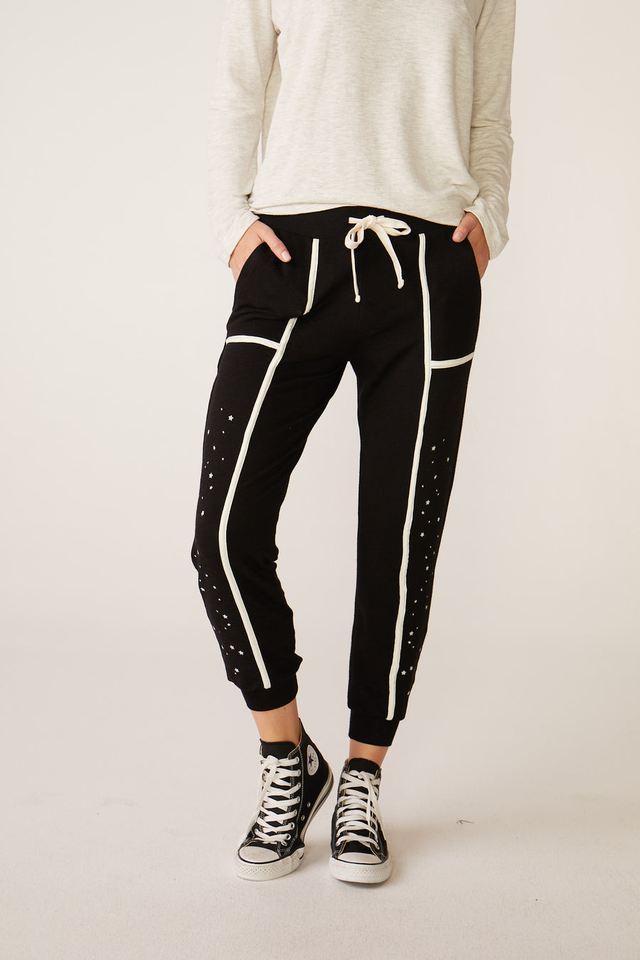 Monrow Skinny Sweats with Seamed Binding