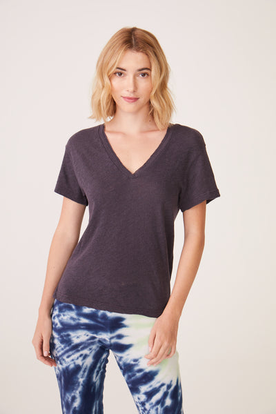 Monrow Granite Raw V Neck