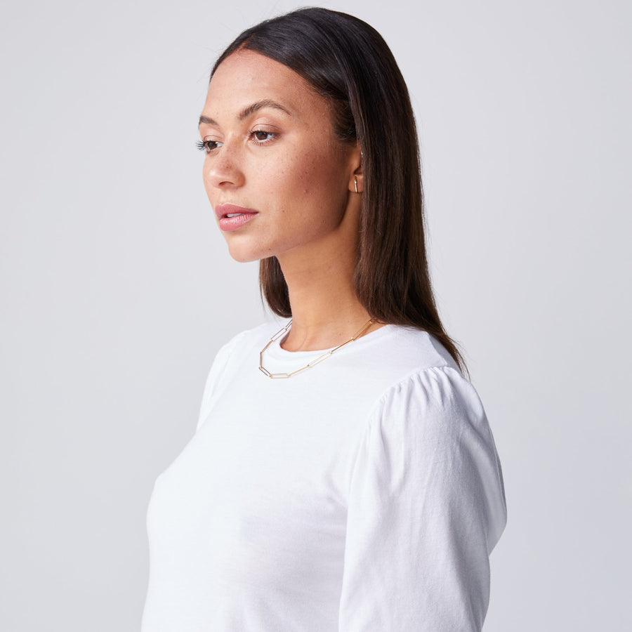 Monrow Puff Sleeve Top in White