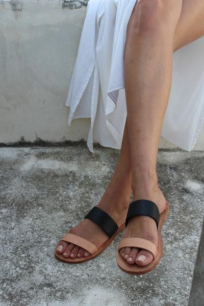 "byJAMES ""James"" Sandal In Black and Nude"