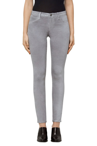 J Brand 815 Mid Rise Super Skinny in Coated Silver Spoon