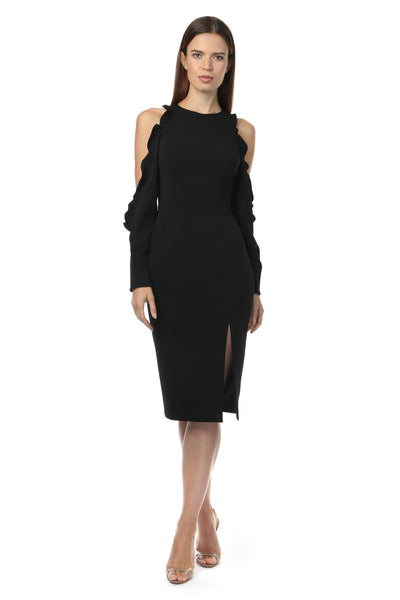Jay Godfrey Beresford Ruffle Sleeve Dress In Black