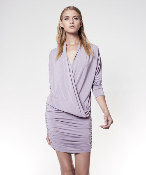Krisa Surplice Shirred Mini - Estilo Boutique