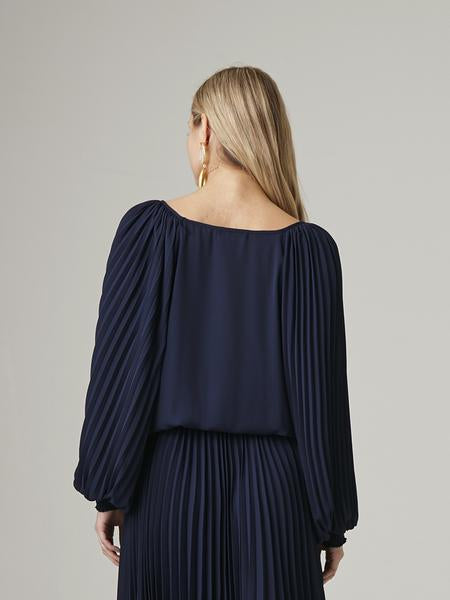 Krisa Pleat Sleeve Top in Ocean