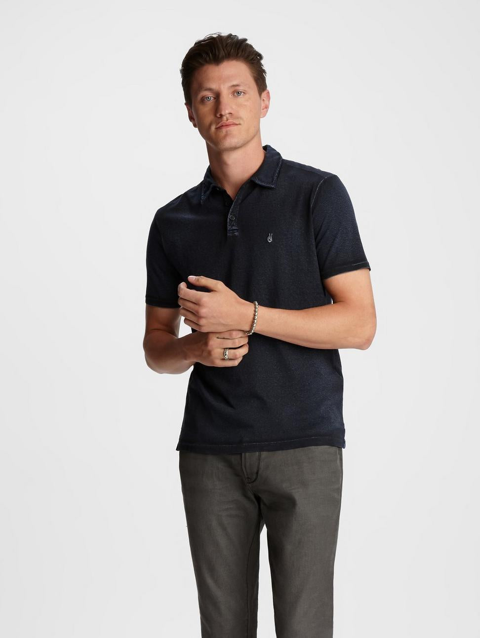 John Varvatos Soft Collar Peace Polo in Marine