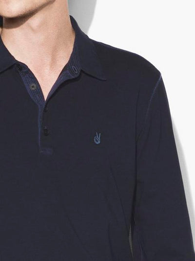 John Varvatos Long Sleeve Polo with Peace Sign