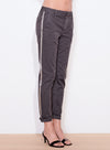 Sundry Stripe Rolled Up Pants in Coal