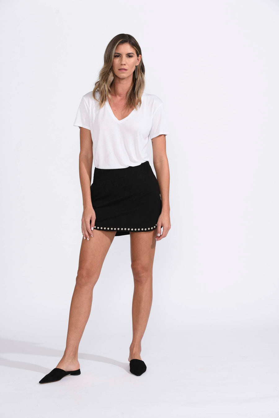 Karina Grimaldi Florence Studded Skirt in Black