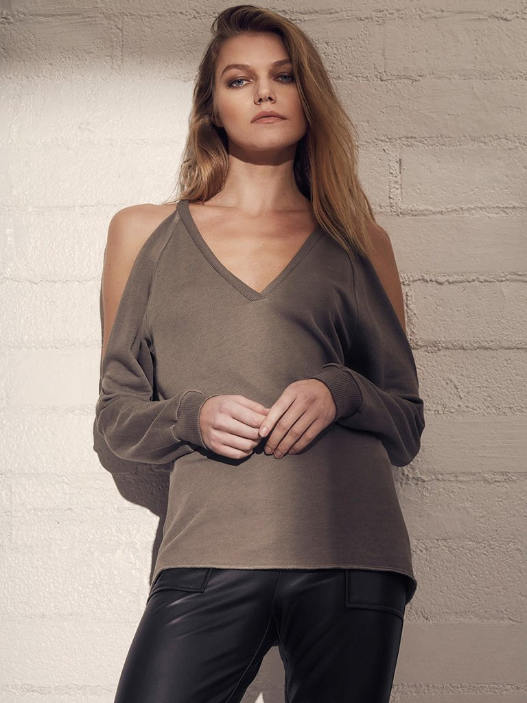 Lanston Cold Shoulder V Neck Pullover