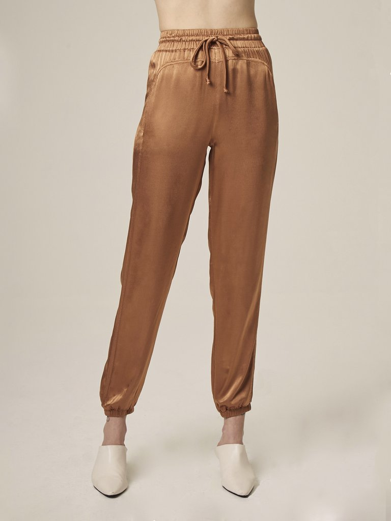 Lanston Satin Joggers in Bronze
