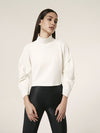 Lanston Puff Sleeve Turtleneck Top in Cream