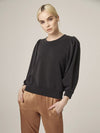 Lanston Drape 3/4 Sleeve Top in Black