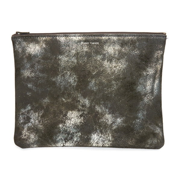 Tracey Tanner Large Flat Zip Pouch - Grey Distress - Estilo Boutique