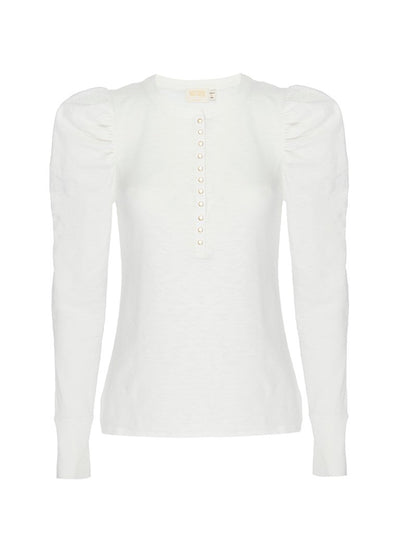 Nation Lilian Puff Sleeve Top in Off White