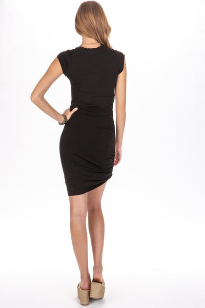 LA Made Indie Side Ruched Dress in Black