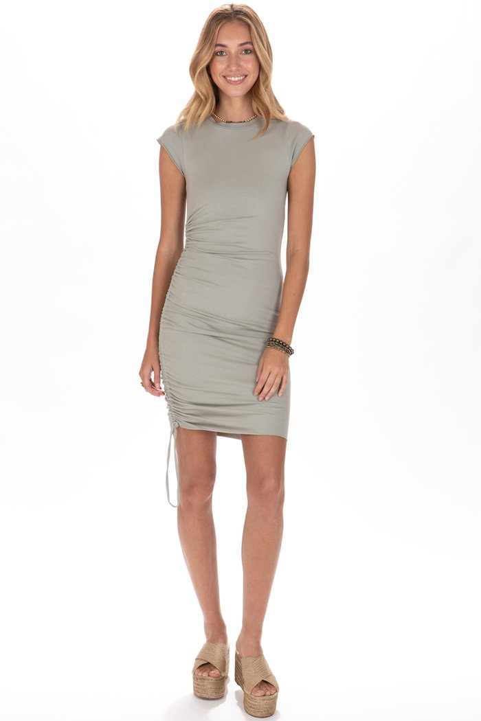 LA Made Indie Side Ruched Dress in Moon Mist