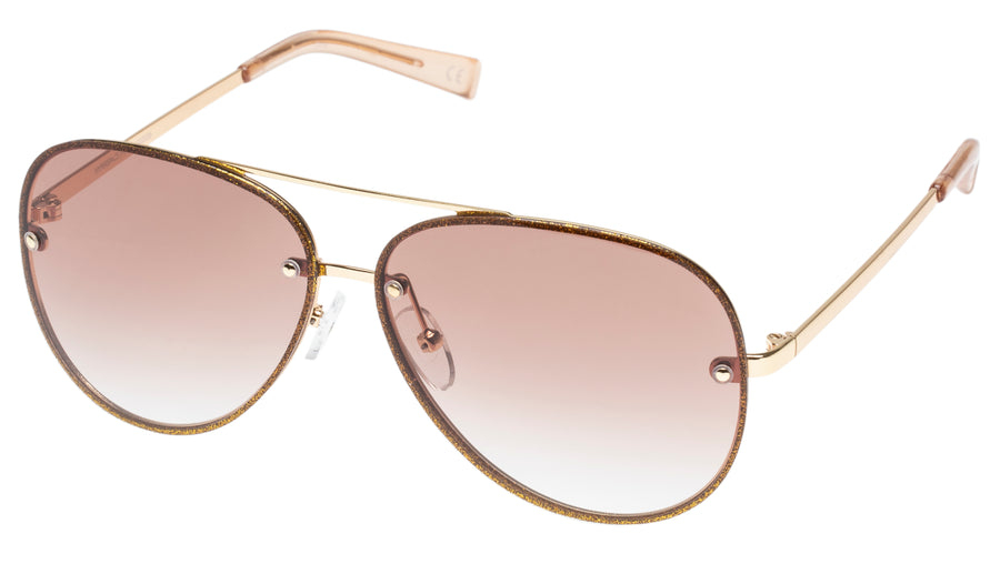 Le Specs Hyperspace Sunglasses in Gold Glitter