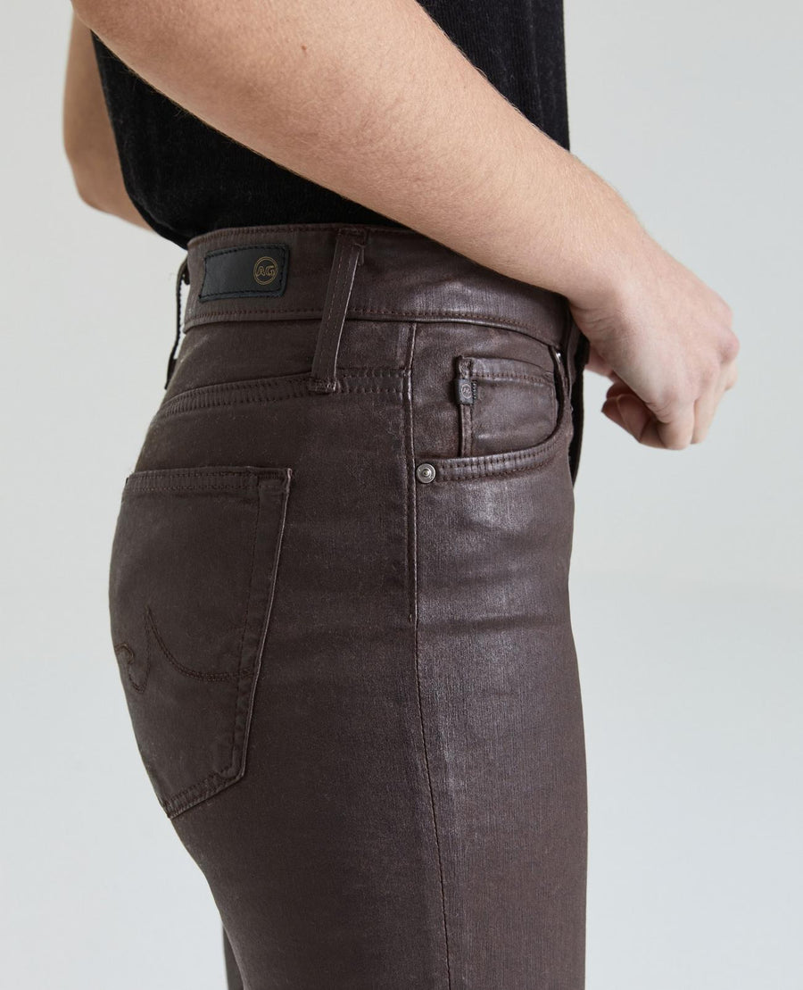 AG Denim Farrah Ankle Skinny in Brown Leatherette
