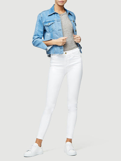 Frame Le High Skinny in Blanc