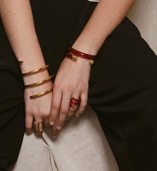 Lady Grey Mirage Bangle in Red Lucite