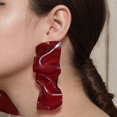 Lady Grey Warp Earrings in Red Lucite