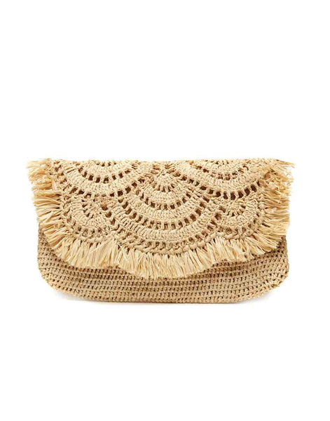 Mar Y Sol Large Tropical Clutch In Sand