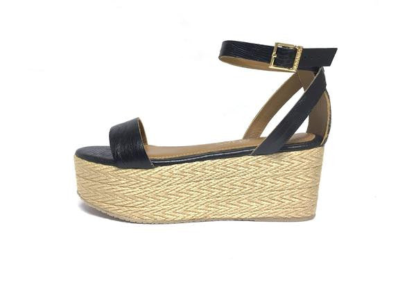 Kaanas Seshat Lizard Ankle Sandal In Black - Estilo Boutique
