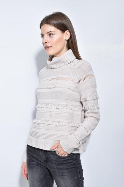 Brown Allan Cropped Fringe Sweater