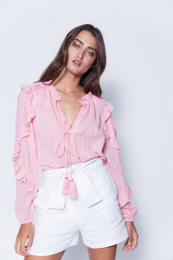 Karina Grimadli Nora Top in Pink Metallic