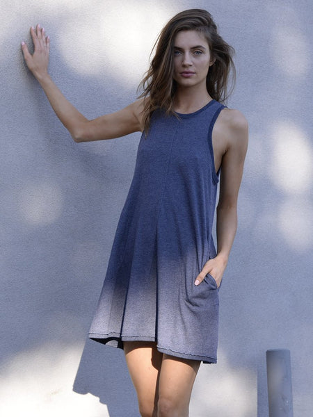 Nation LTD Phoebe A Line Dress in Deep Blue