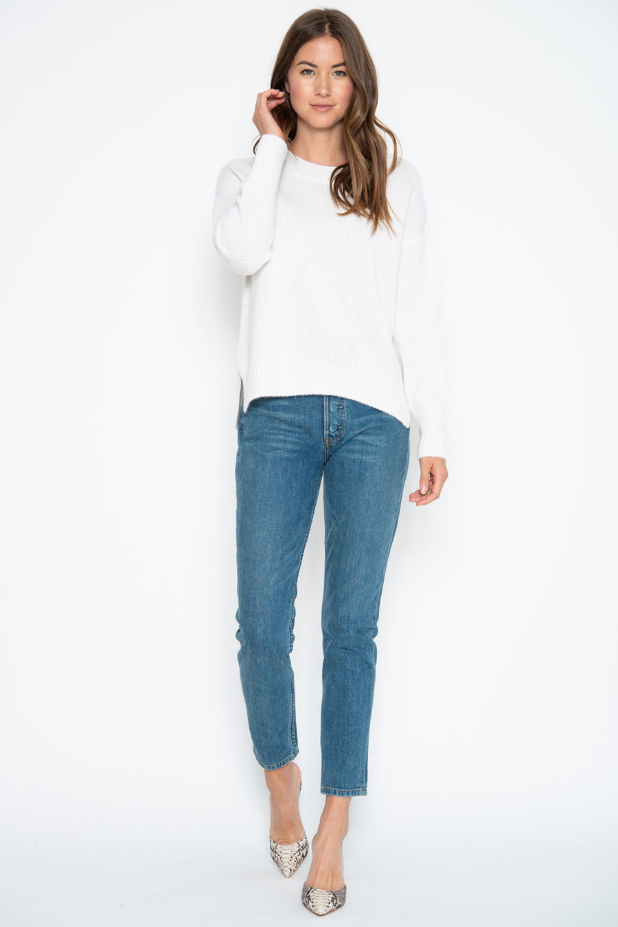 One Grey Day Lyle Cashmere Sweater in Ivory