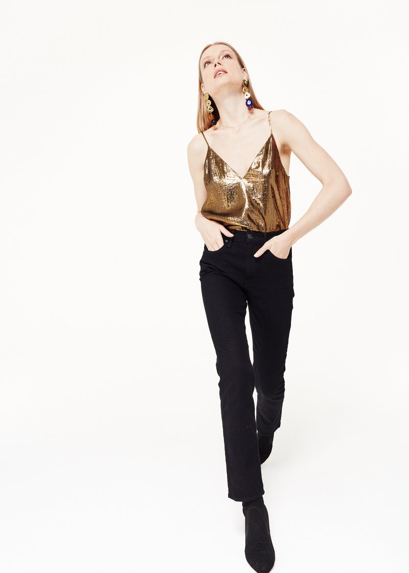 Cami NYC Olivia Gold Lame Top