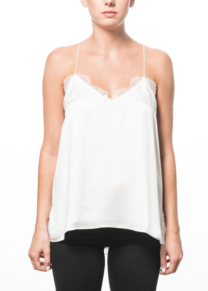 Cami NYC Racer Charmeuse Tank in White