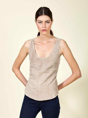 Ilia Goat Leather Scoop Pieced Tank