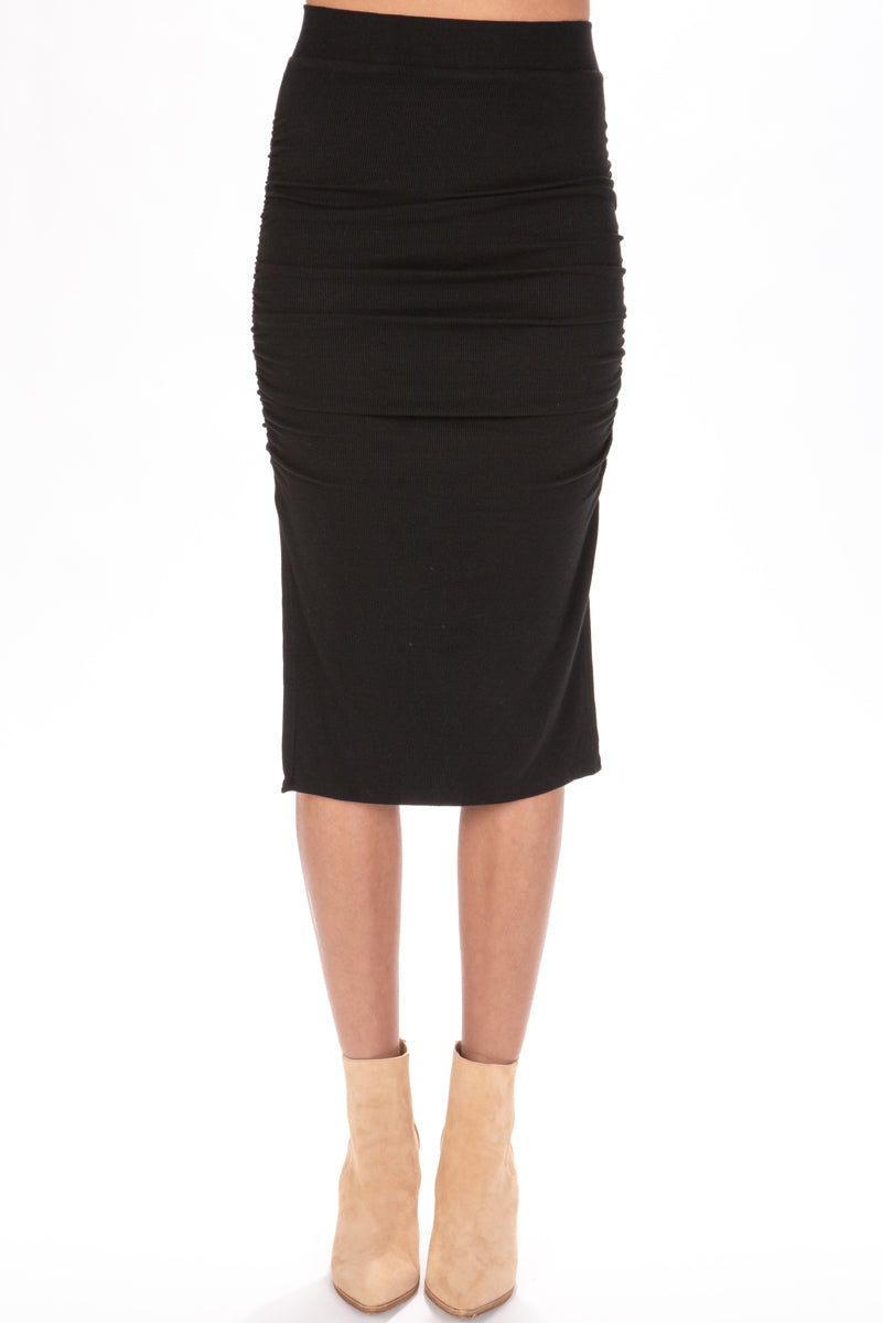 LA Made Gathered Midi Skirt