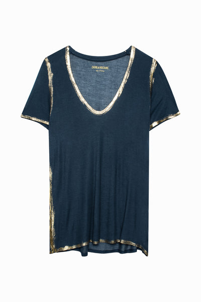 Zadig & Voltaire Tino Gold Tee in Marine