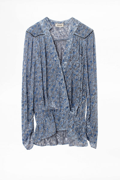 Zadig & Voltaire Tori Star Burnout Velvet Top