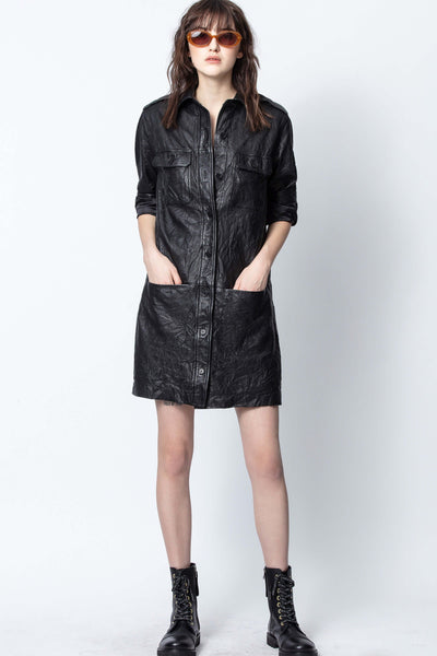 Zadig & Voltaire Rexy Crinkled Leather Dress
