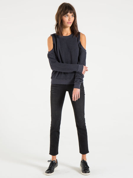 Philanthropy Maia Reversed Open Shoulder Sweater in Graphite