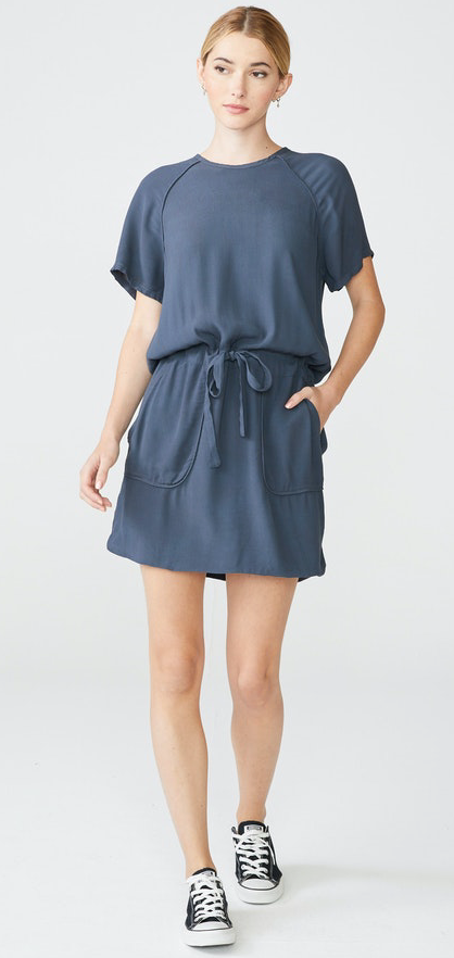 Monrow Crepe Dress with Self Piping