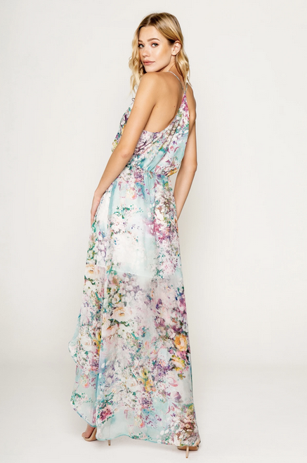 Lavender Brown Silk Maxi Dress