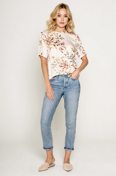 Lavender Brown Boxy Floral Top