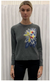 Saccharine Blue Floral Burst Crew Neck Sweater