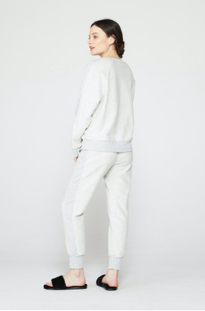 Monrow Reversed Sporty Sweatpants in Natural