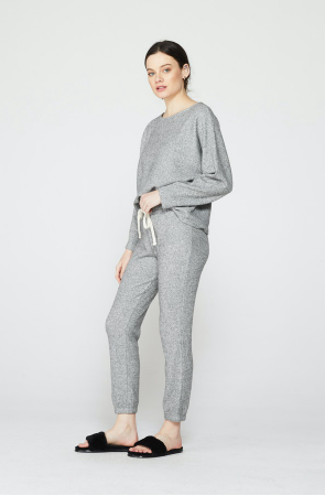 Monrow Thermal Sweat Pants in Heather