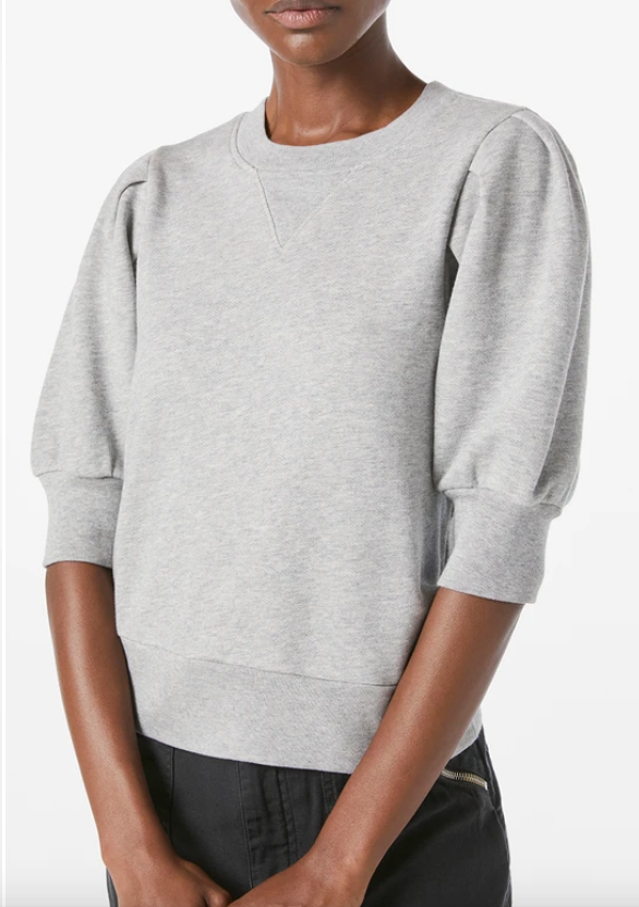 Frame Shirred Short Sleeve Sweatshirt